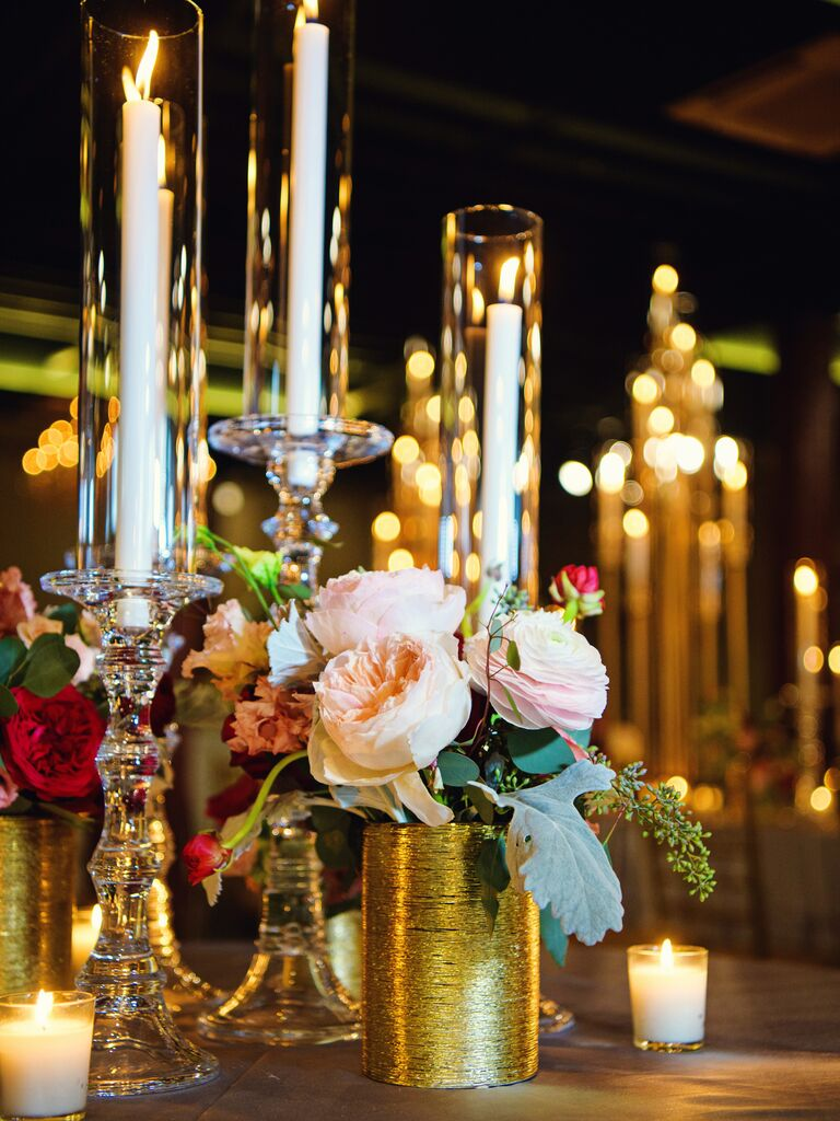 candles and rose romantic wedding centerpiece