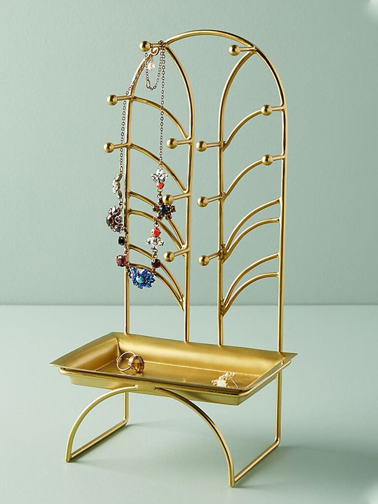 Gold iron jewelry stand for her