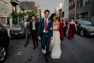 "For their eclectic wedding in Brooklyn, Mary Eliska and Robert Russell, ""wanted to have a party with the people we loved, with good food, and dancing!"