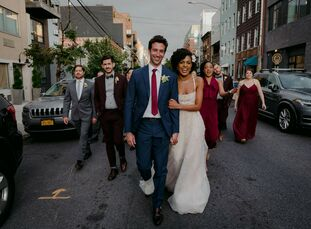 """For their eclectic wedding in Brooklyn, Mary Eliska and Robert Russell, """"wanted to have a party with the people we loved, with good food, and dancing!"""