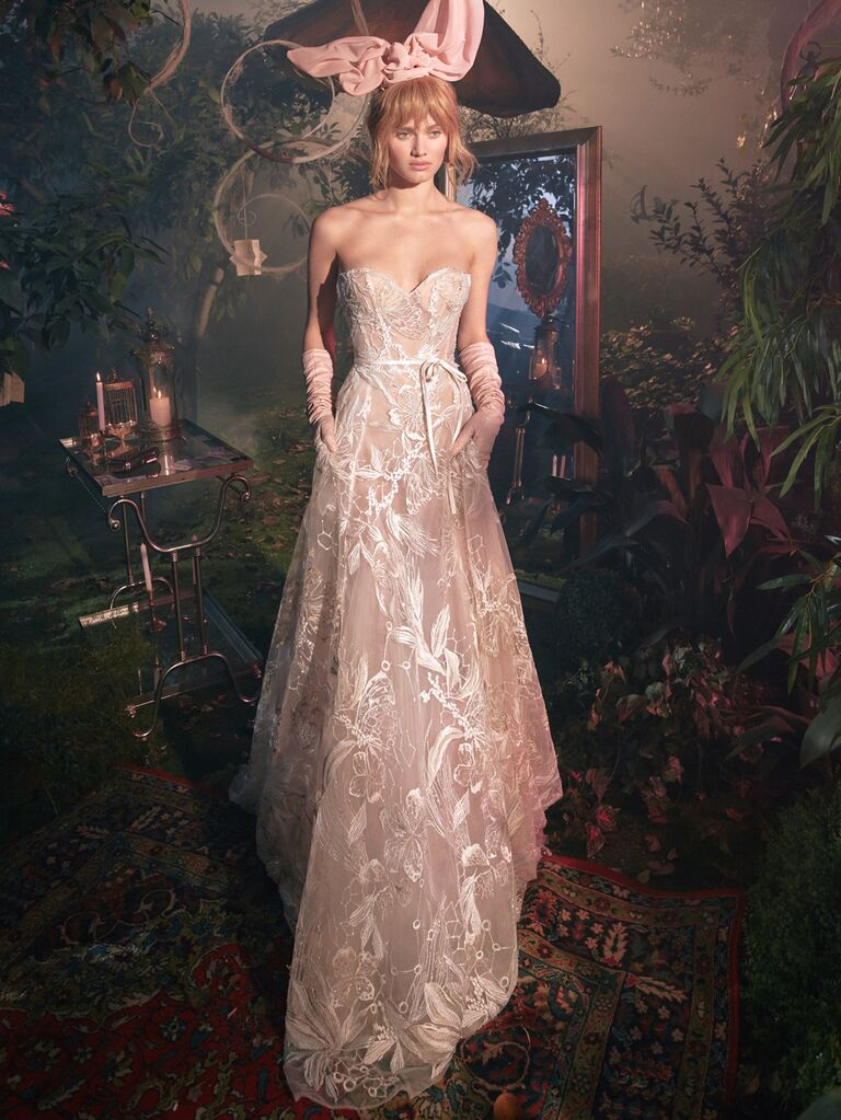GALA by Galia Lahav Spring 2020 Bridal Collection lace embroidered A-line dress with bow sash