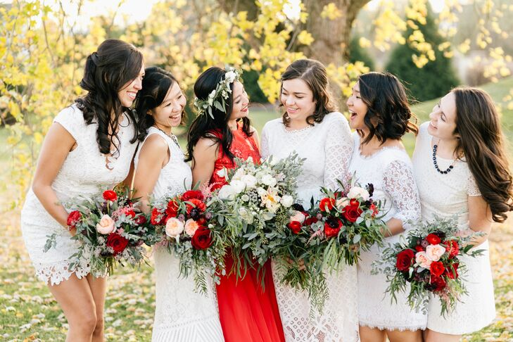 Bridesmaids in White Lace Dresses