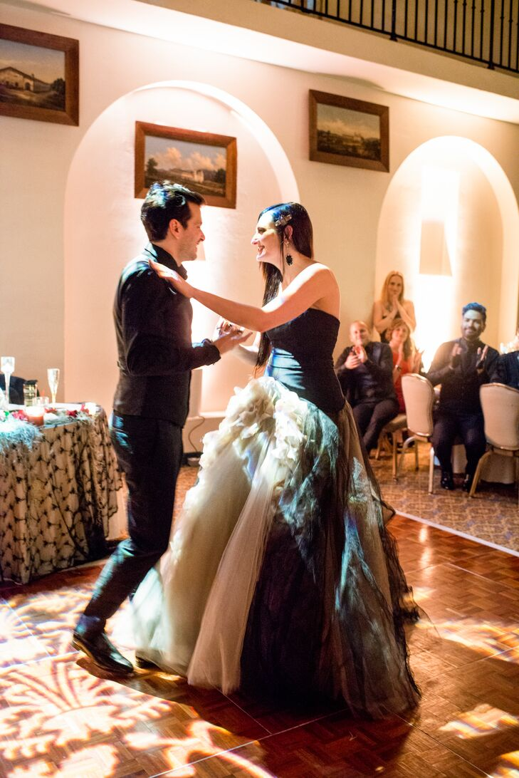 """As 1920s Halloween cartoons flicked on screens around the dance floor, the couple had their first dance to Elvis's """"Love Me Tender,"""" a heartfelt tribute to Lindsay's mother, a devoted Elvis fan."""