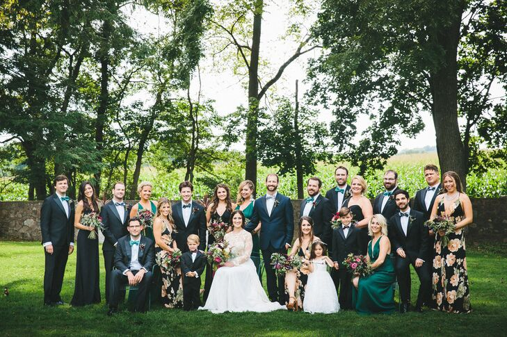 Classic Black Tuxedos and Mismatched Reformation Bridesmaid Dresses
