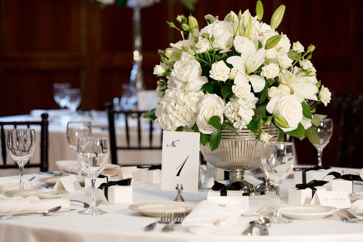 Formal White Rose, Hydrangea and Lily Centerpieces