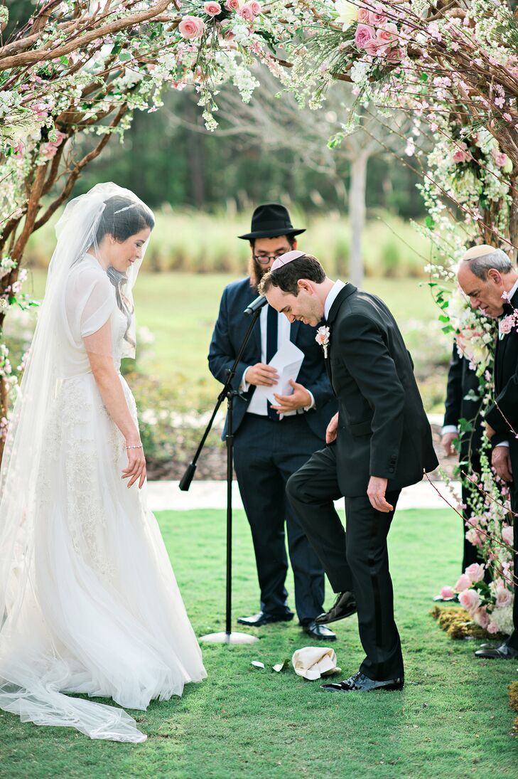 Breaking of Glass During Outdoor Jewish Wedding
