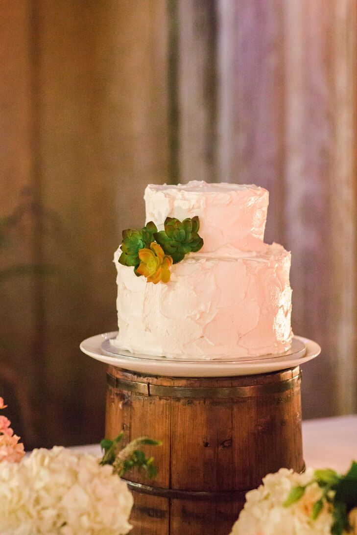 Simple Ivory Wedding Cake With Succulents