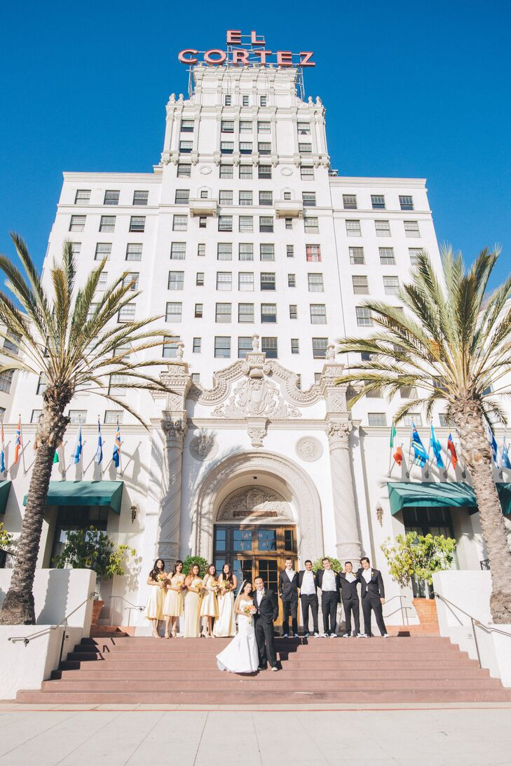 """""""We had our wedding in downtown San Diego at El Cortez in the Don Room,"""" says Jess. """"The location was great to because our ceremony was on the patio and our guests transitioned easily into the ballroom. We loved having everything in one place."""""""