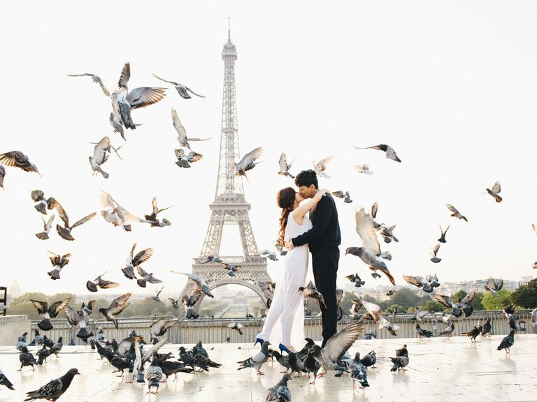Eiffel Tower engagement photo shoot in Paris, France