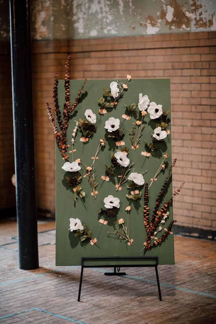 Decorative Eclectic Sign with Anemones and Branches