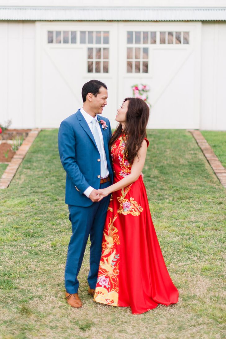 For part of the reception, Deborah donned a traditional red Chinese wedding gown that had been tailored by her aunt-in-law.