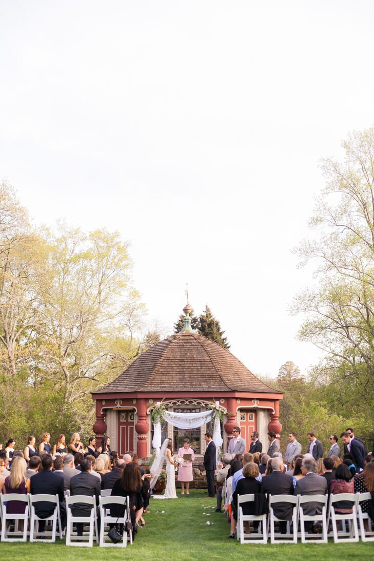 Nicole's father built the ceremony's ceremonial chuppah as a nod to the groom's Jewish heritage.