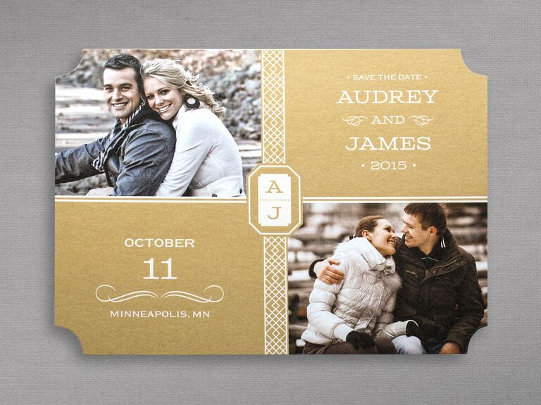 A Glamorous Gold Photo Save The Date