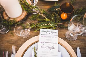 Gold Flatware with Bold, Modern Menu and Green Leaf Place Card