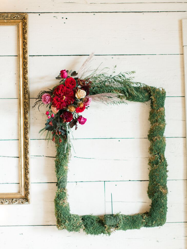 Whimsical Hanging Moss Frame with Burgundy Fall Flowers