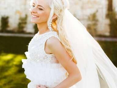 tan bride in dress