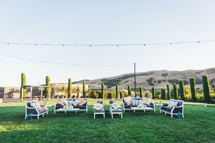 Lounge areas were set up for guests to mingle or take a break from the dance floor and rest their feet.