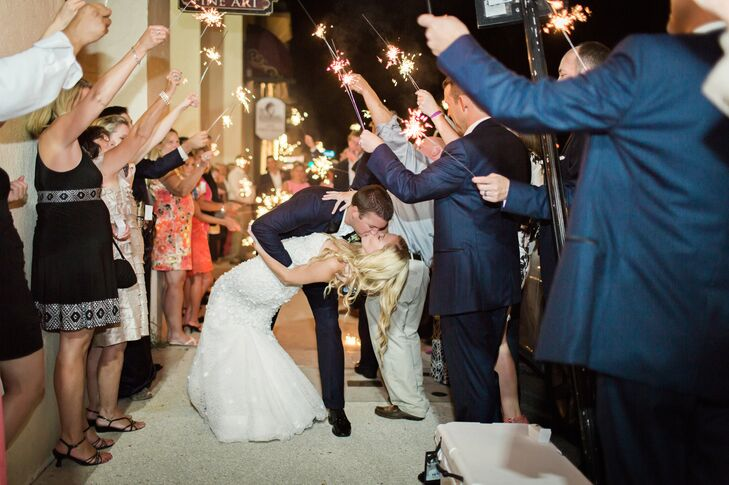 Kellie and Ryan capped off their epic wedding bash with a celebratory sparkler exit.