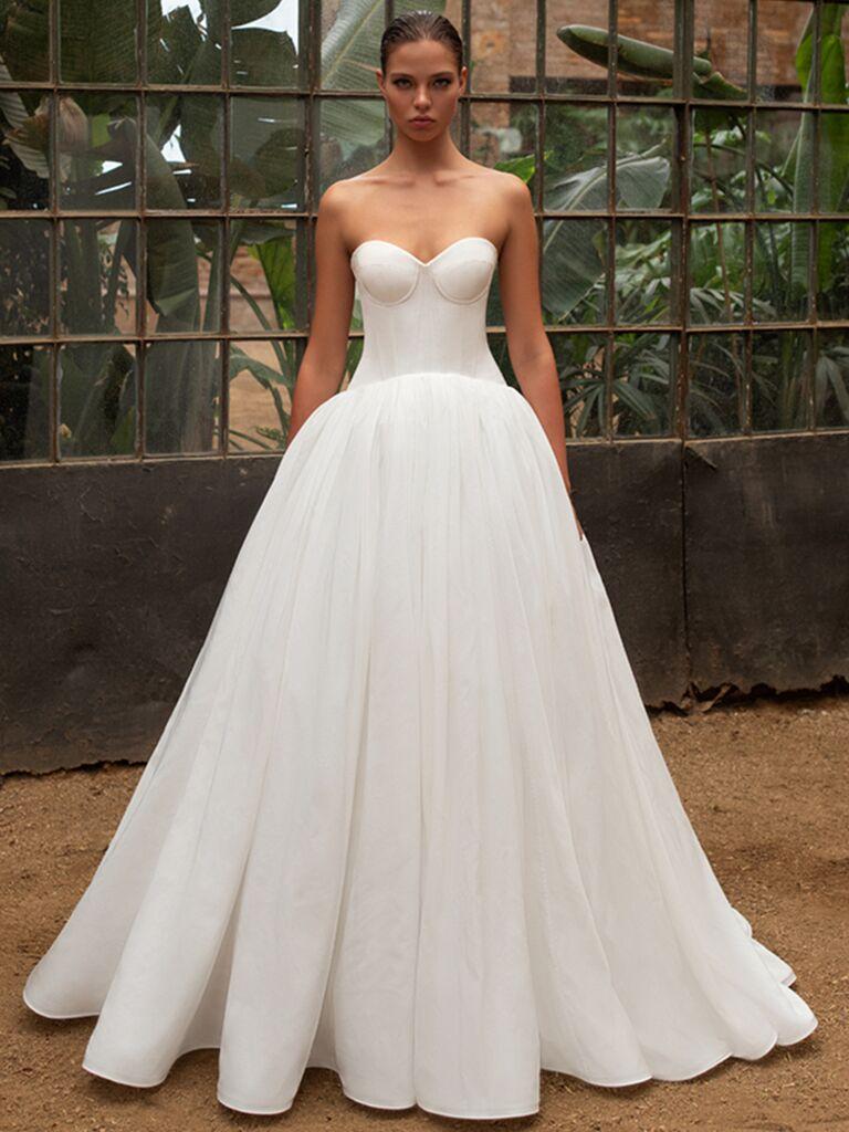 Zac Posen for White One bustier ballgown