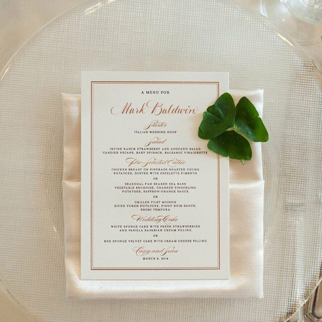 The menu cards mirrored the formality and color palette of the invitations. A four leaf clover was placed on each card, tying into the day's Irish and Italian undertones.