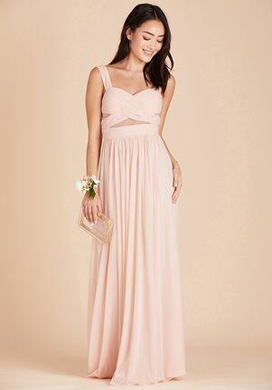 Birdy Grey Elsye Mesh Dress in Pale Blush Sweetheart Bridesmaid Dress