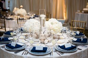 White and Navy Dining Table