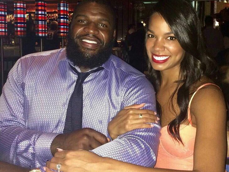Glenn Dorsey, Defensive Tackle for the San Francisco 49ers and Tiffany Evans after getting engaged