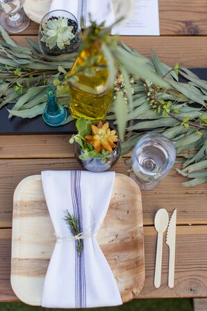 Sustainable Dinnerware and Flatware with Herb Sprig