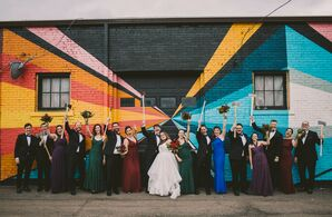 Eclectic Wedding Party in Jewel-Toned Attire
