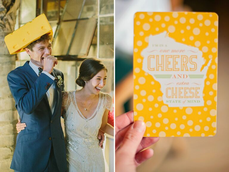 Wisconsin themed cheese hat and card