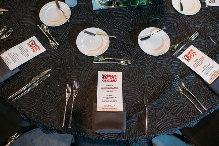 Bold Menus on Modern Black Textured Tablecloth