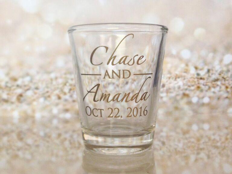 Custom shot glass wedding favor idea