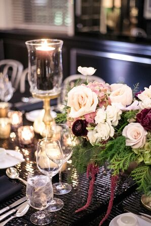 Tablescape with Candle Holder and Rose Centerpiece