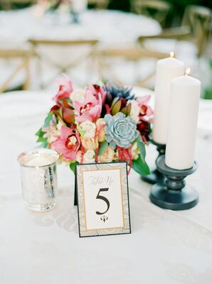 Colorful Succulent Centerpieces With Blush Blossoms