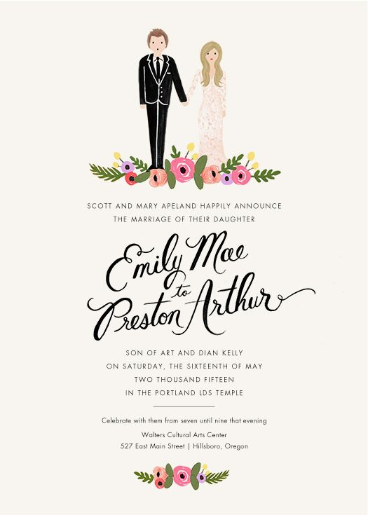 """The wedding invitations gave guests a great glimpse into the garden-inspired occasion. Cartoon versions of Emily and Preston standing over a bed of flowers accented the top of the white stationery. The same floral design accented the bottom of the page as well, with """"Emily Mae & Preston Arthur"""" written in large black script."""
