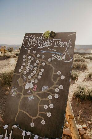 Rustic Wood DIY Seating Chart in Desert