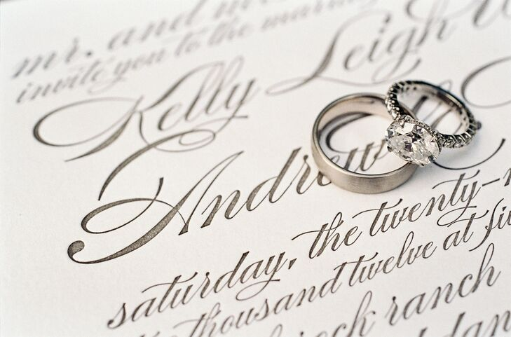 Andrew proposed to Kelly with a round brilliant-cut diamond engagement ring with a diamond eternity band.