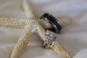 Engagement and Wedding Rings on Starfish