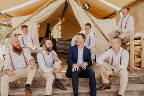 Modern-Rustic Groomsmen with Tan Pants, White Shirts and Suspenders