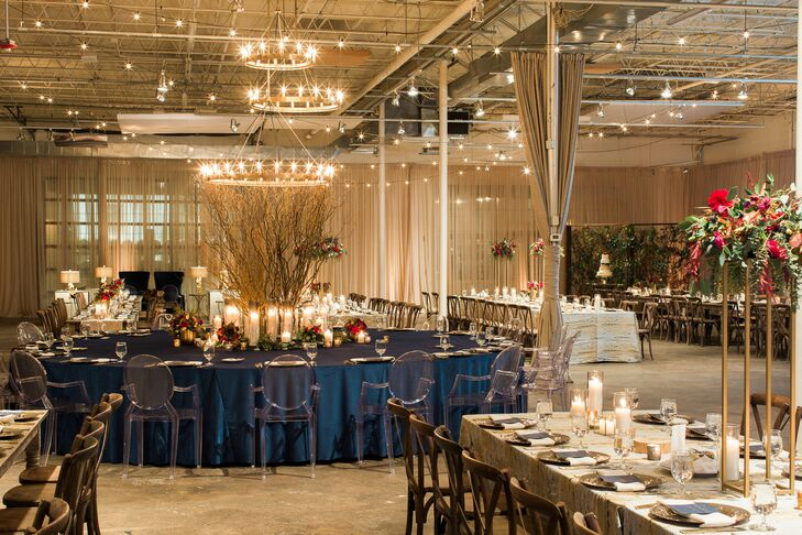 Navy Decor in Loft Space at Georgia Wedding