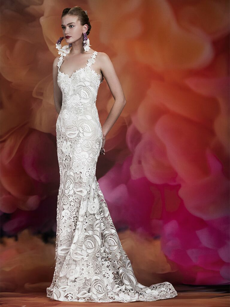Naeem Khan wedding dress lace trumpet gown with skinny straps