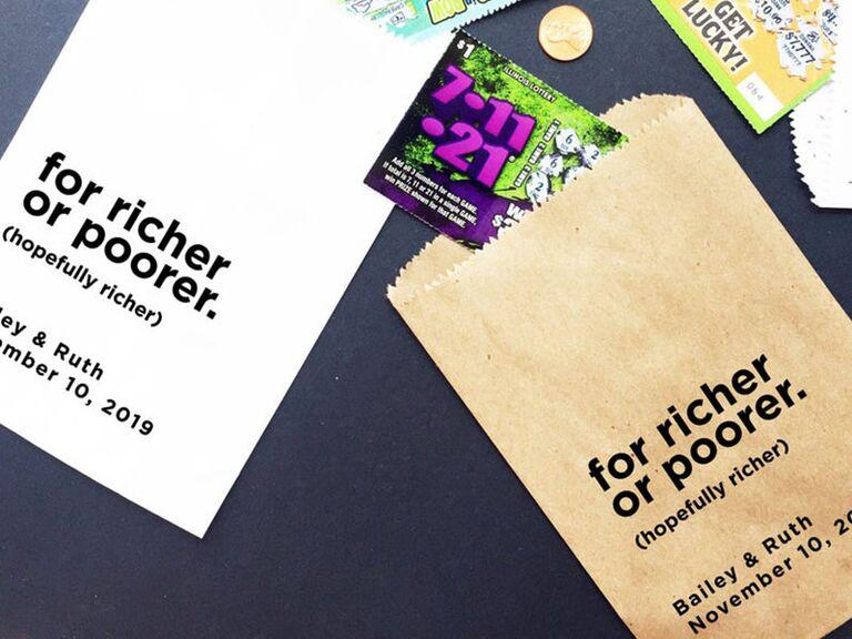 wedding favor lotto ticket bags