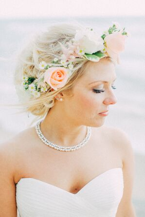 Blush and White Rose Flower Crown