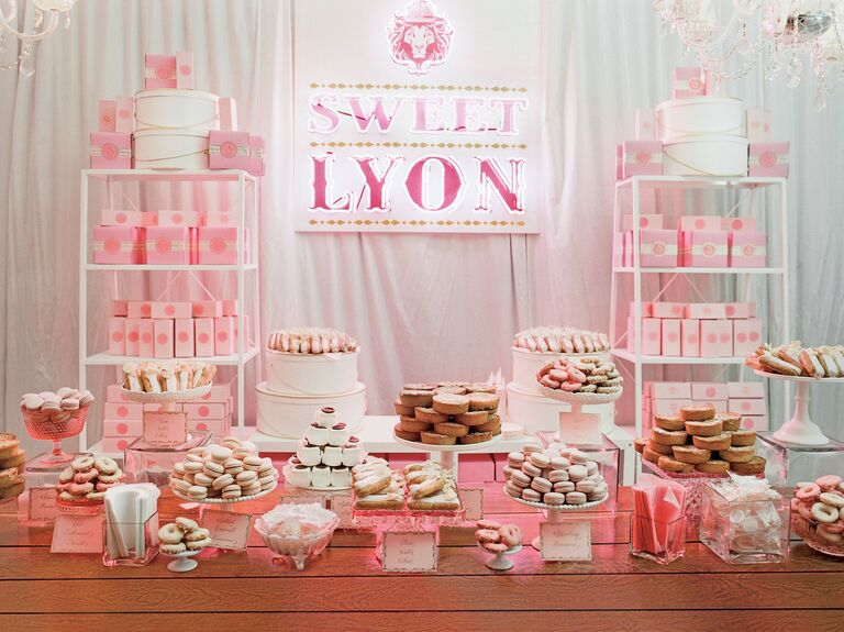Pink wedding pastry tent wedding dessert table