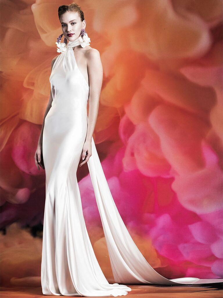 Naeem Khan wedding dress high-neck trumpet gown with flower detail