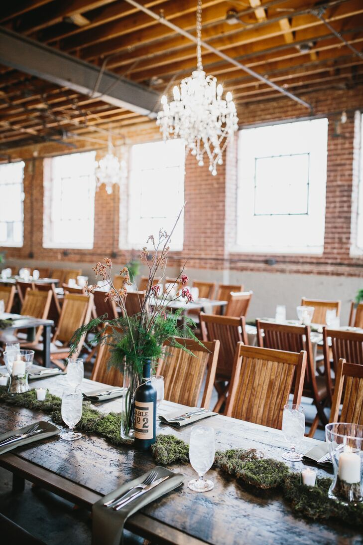 Farm Tables with Moss Runner and Lush Natural Centerpieces
