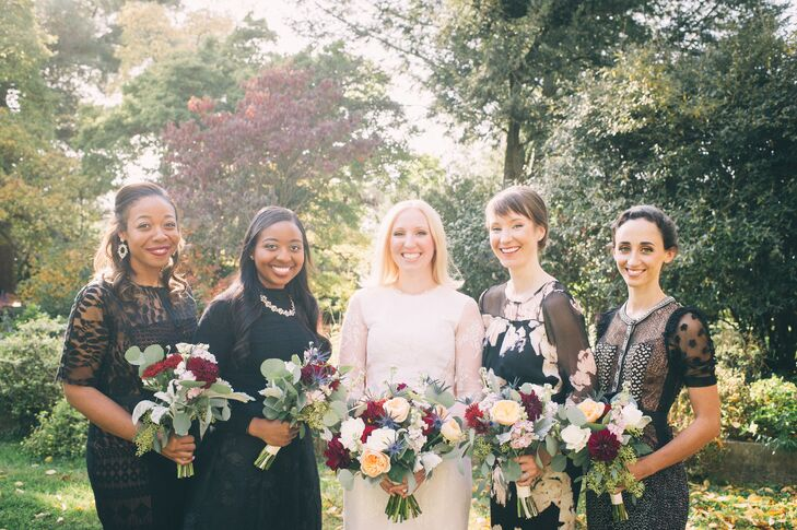 """We wanted it to be easy and individual for our groomsmen and bridesmaids, so we let the girls pick their dresses and just gave them inspiration and color scheme,"" Erin says. Bridesmaids looked chic in a mix of black knee-length dresses."