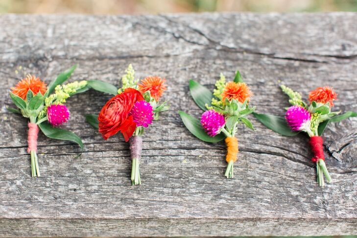 Ranunculus and Thistle Hot Pink Boutonniere