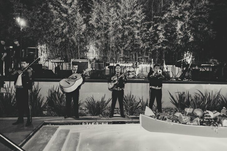 A mariachi band entertained during the cocktail hour, which was held by the pool.