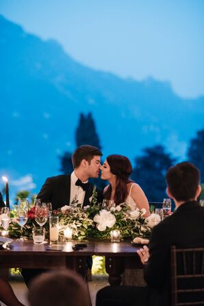 Romantic Kiss at Luxury Wedding Reception